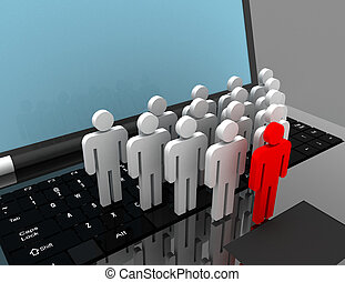 team of people figures on laptop, 3d rendered illustration