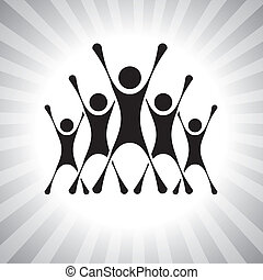 team of people jumping after victory in a competition- ...