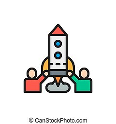 Team of people launches rocket, startup flat color line icon.