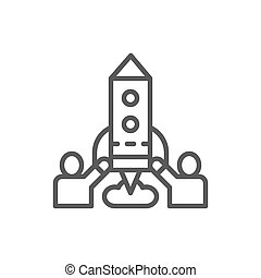 Team of people launches rocket, startup line icon.