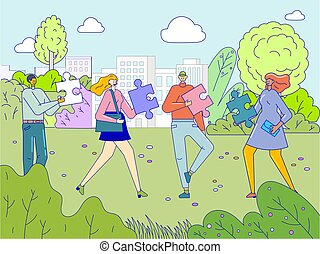 Team of people work concept, men and women cooperating to put jigsaw puzzle pieces together, vector illustration