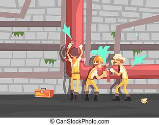 Team of Professional Plumbers Fixing Leakage, Construction Workers in Uniform Repairing Pipeline Vector Illustration