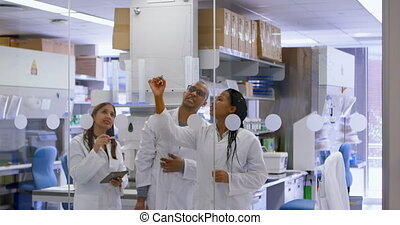 Team of scientist discussing on glass wall 4k - Team of...