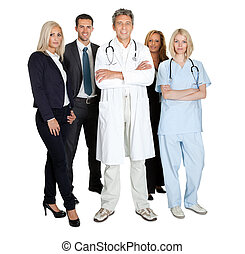 Team of smiling working people isolated over white