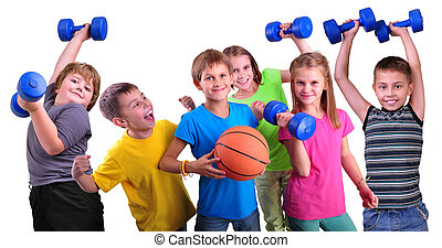 Team of sportive kids friends with