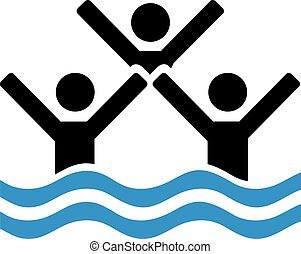 Team of synchronize swimmer