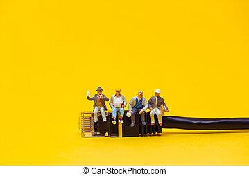 Team of technicians having a break. Technology concept