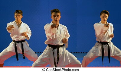 Team of three students training and practicing karate...