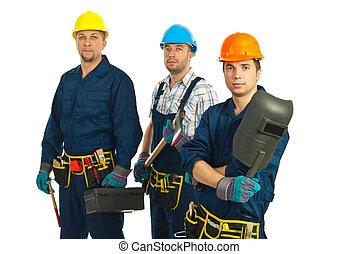 Team of three workers men