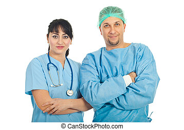 Team of two doctors