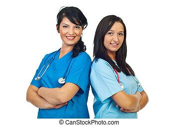 Team of two doctors women