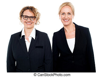 Team of two smiling businesswomen posing