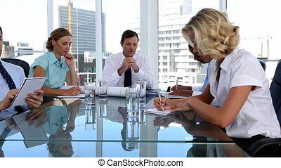 Team of workers during a meeting