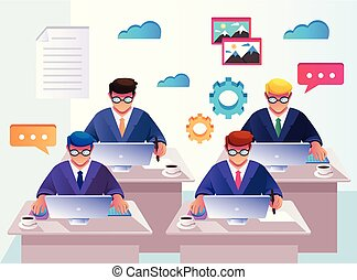 Team office workers businessmen people characters working. Workplace work space management recruitment concept. Vector flat cartoon isolated graphic design illustration