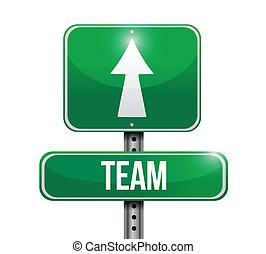 team, ontwerp, straat, illustratie, meldingsbord