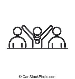 team people competition running speed sport line icon design