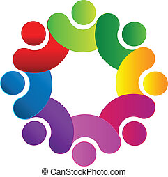 Teamwork union people 3d rainbow logo vector
