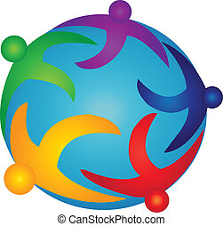 Team people on the world logo