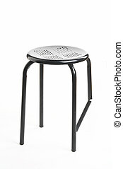 Team - metal chair with broken leg on white background -...