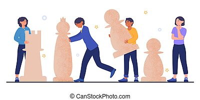 Team playing chess concept. Men and women rearrange chess pieces on the field. A metaphor for planning and applying a business strategy. Cartoon flat vector illustration isolated on a white background