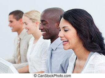 team, positief, bedrijfspresentatie, werken