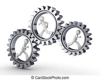 Team power - Three men walking inside gears