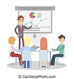 team., prezentacja, handlowy
