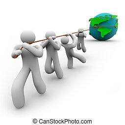 Team Pulling the World - A team works together to pull the...