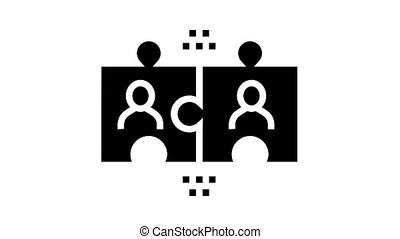 team puzzle animated glyph icon. team puzzle sign. isolated on white background