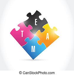 team puzzle pieces illustration