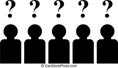 simple isolated icon design of a group of people with questions on their minds