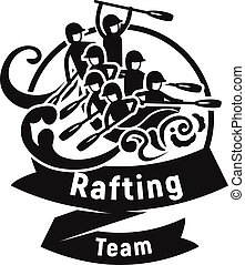 Team rafting logo, simple style