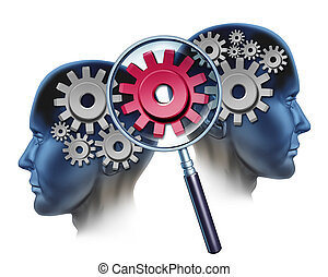 Team Solution and business partners success by cooperating as a financial unit coming together to create industry innovation with two people and a group of gears and cogs and a magnifying glass focused on a red one.