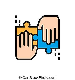 Team solves a jigsaw puzzle flat color line icon.