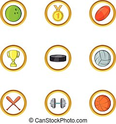 Team sport icon set, cartoon style