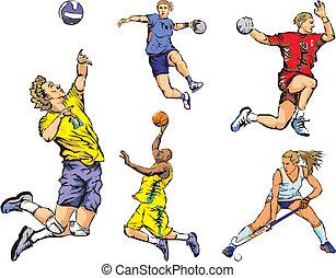 team sporten, figuren, -, binnen