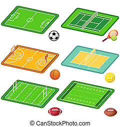 Team sports fields and balls - Soccer, tennis, basketball, ...
