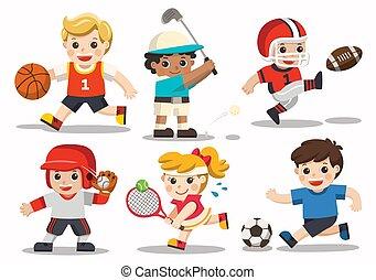 Team sports for kids including Football, Basketball, American Football, Baseball, Tennis, Golf.
