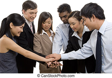 Team Success 1 - A group of six business men and women put...