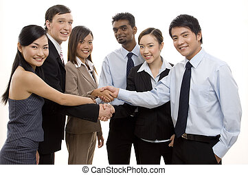 Team Success 3 - An ethnically diverse business team...