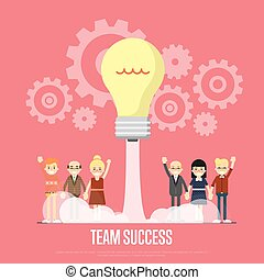 Team success banner with business peole