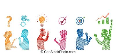 team., success., gesturing., 見つけること, 解決, 解決, 概念, プロフィール, ビジネス, 問題, 人々, stickman, 分析, 作戦, サービス, 有色人種, クライアント, problems., solution.