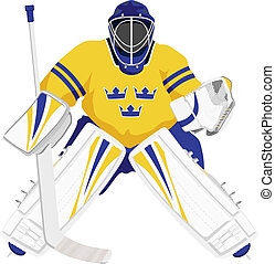 Team Sweden hockey goalie, isolated vector illustrations