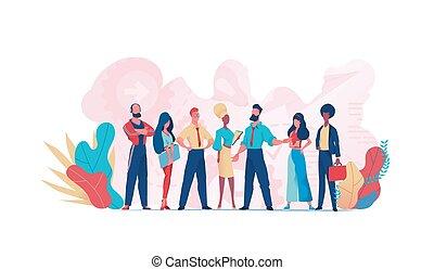 team, teamwork., groep, zakenlui