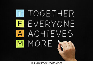 Hand writing TEAM - Together Everyone Achieves More with white chalk on blackboard.