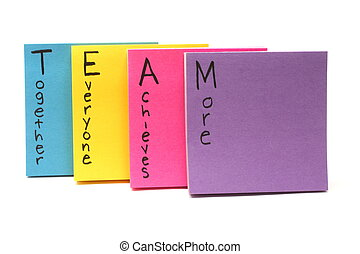 Team together everyone achieves more - Colorful sticky note...