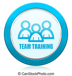 Team training blue chrome silver metallic border web icon. Round button for internet and mobile phone application designers.