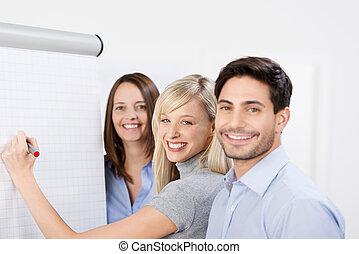 Team training using a flip chart