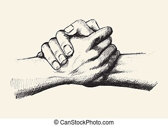 Team Up - Sketch illustration of two hands holding each...