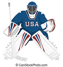 Team USA hockey goalie, isolated vector illustrations